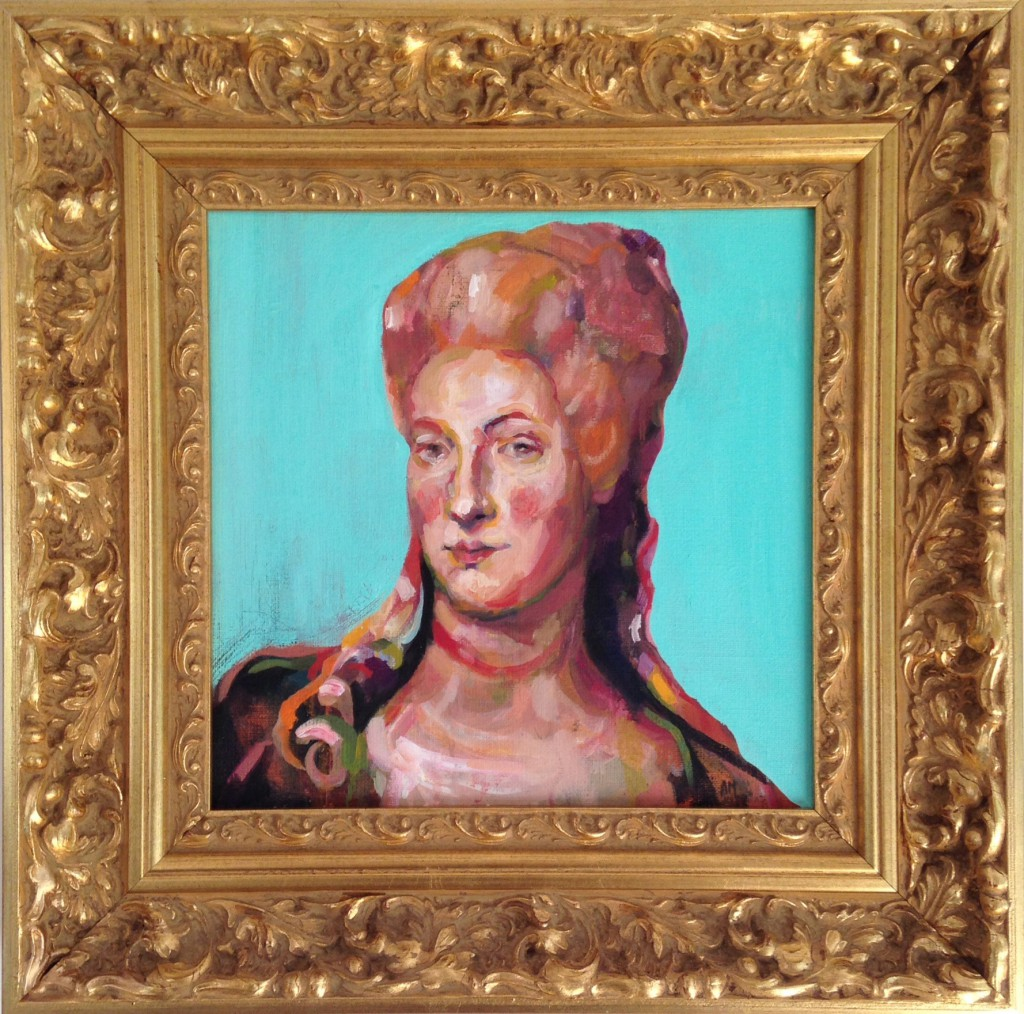 The naughty Baroness (30x30 cm, oil + frame)