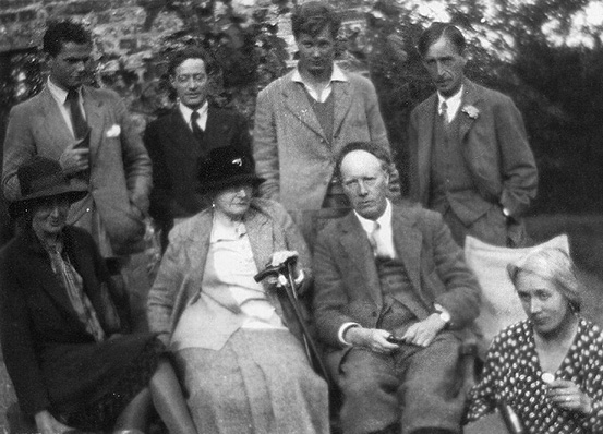 Charleston, 1930} Angus Davidson, Duncan Grant, Julian Bell and Leonard Woolf. Virginia Woolf, Margaret Duckworth, and Clive and Vanessa Bell.